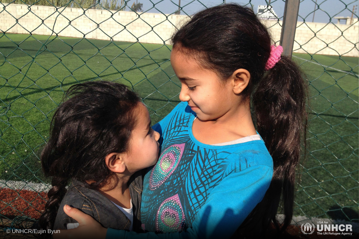 Amne and her sister live in a makeshift shelter in Lebanon
